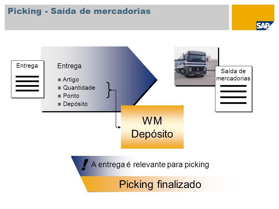 Picking - Saída de mercadorias Saída de mercadorias A entrega é relevante para picking A ordem de transporte necessária ! ! Entrega Artigo Quantidade
