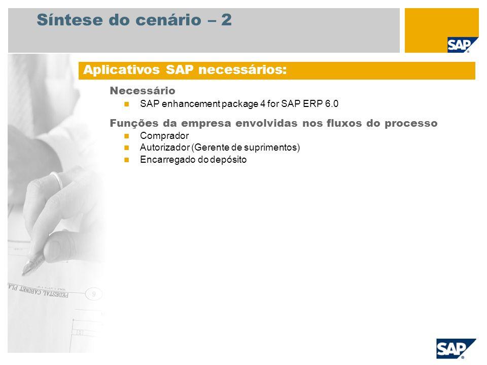 Síntese do cenário – 2 Necessário SAP enhancement package 4 for SAP ERP 6.0 Funções da empresa envolvidas nos fluxos do processo Comprador Autorizador