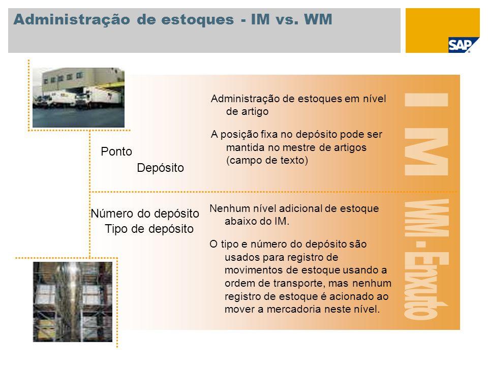 Administração de estoques - IM vs. WM Depósito Ponto Administração de estoques em nível de artigo A posição fixa no depósito pode ser mantida no mestr