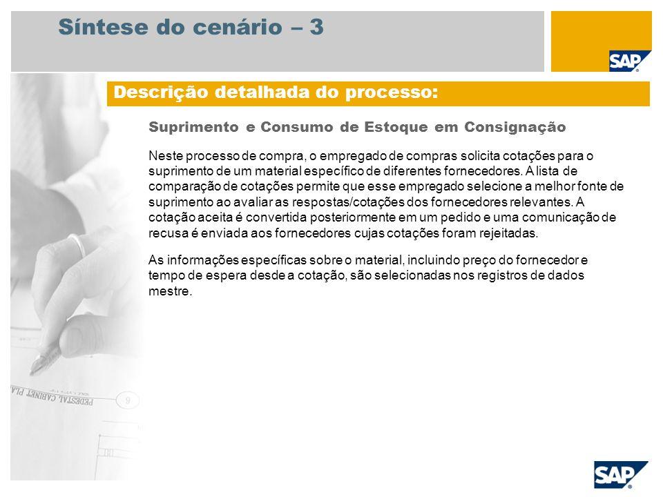 Síntese do cenário – 3 Descrição detalhada do processo: Suprimento e Consumo de Estoque em Consignação Neste processo de compra, o empregado de compra