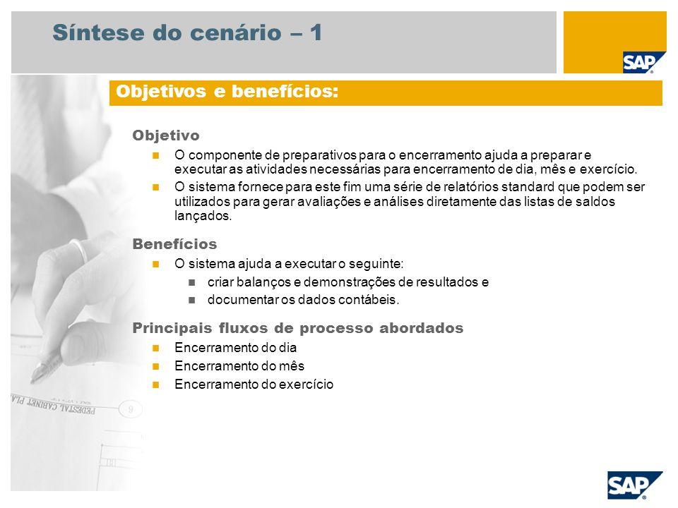 Síntese do cenário – 1 Objetivo O componente de preparativos para o encerramento ajuda a preparar e executar as atividades necessárias para encerramen