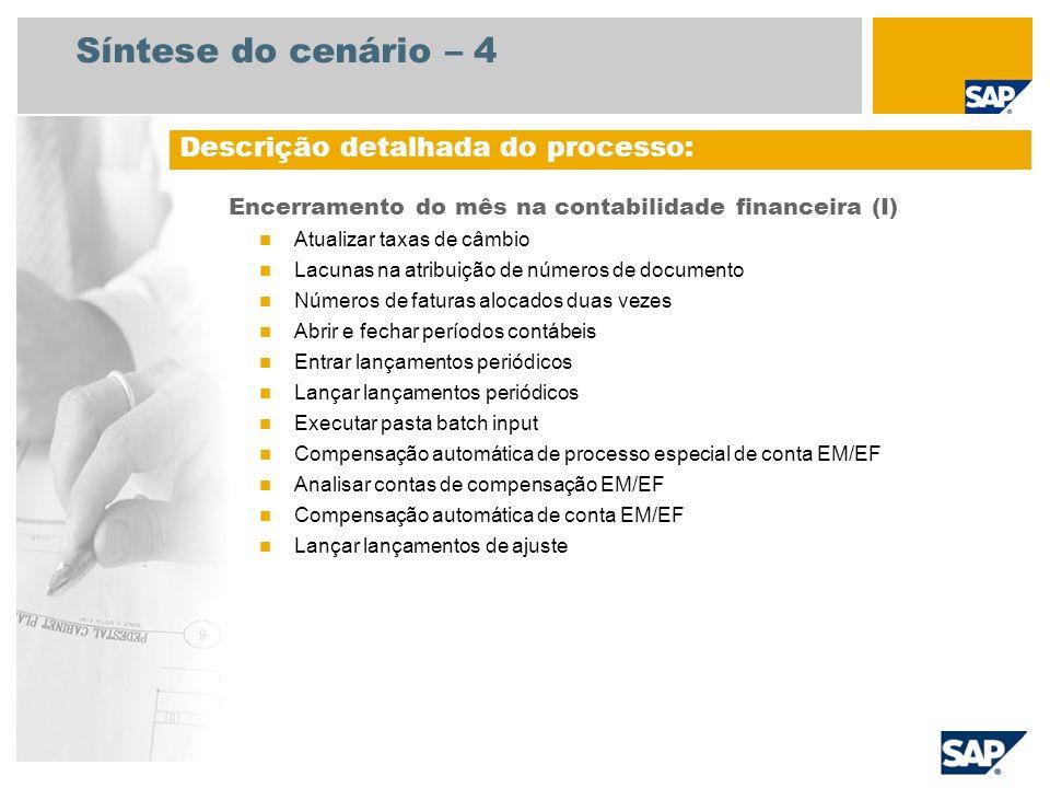 Síntese do cenário – 4 Encerramento do mês na contabilidade financeira (I) Atualizar taxas de câmbio Lacunas na atribuição de números de documento Núm