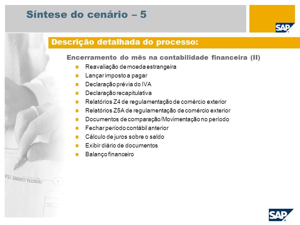 Síntese do cenário – 5 Encerramento do mês na contabilidade financeira (II) Reavaliação de moeda estrangeira Lançar imposto a pagar Declaração prévia