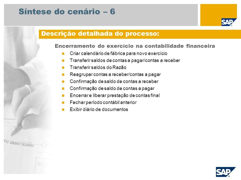 Síntese do cenário – 6 Encerramento do exercício na contabilidade financeira Criar calendário de fábrica para novo exercício Transferir saldos de cont