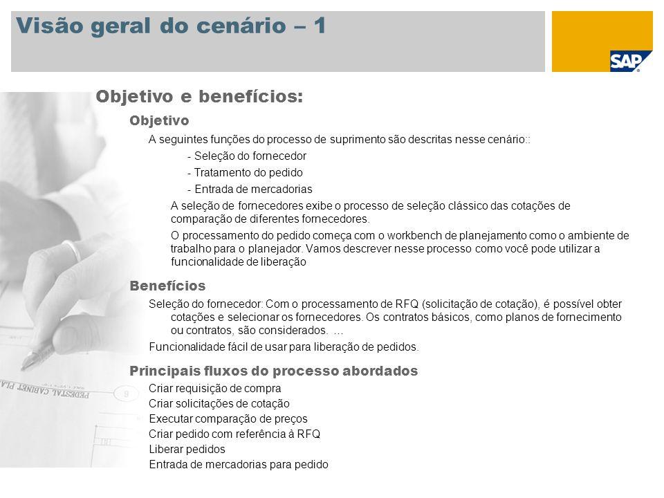 Visão geral do cenário – 2 Obrigatório SAP enhancement package 3 para SAP ERP 6.0 Funções da empresa envolvidas nos fluxos do processo Comprador não sazonal no comércio Encarregado do depósito no comércio Aplicações SAP obrigatórias: