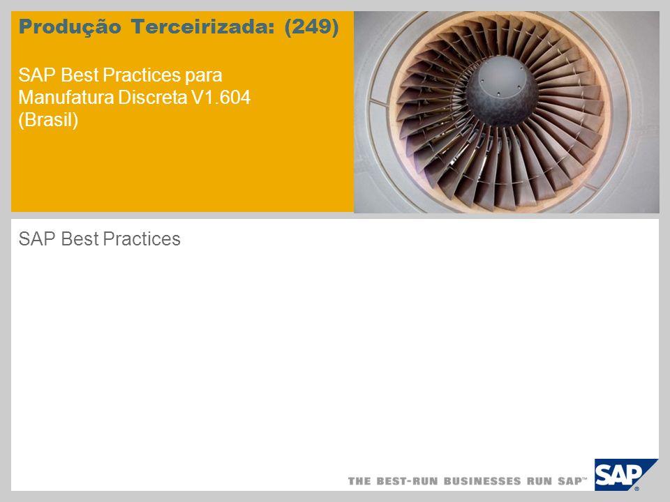 Produção Terceirizada: (249) SAP Best Practices para Manufatura Discreta V1.604 (Brasil) SAP Best Practices