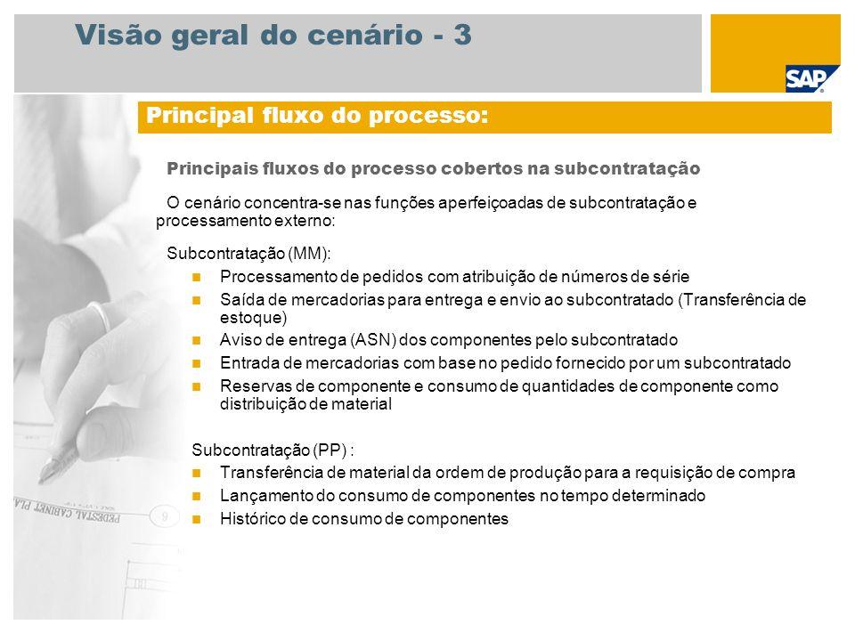 Visão geral do cenário - 3 Principais fluxos do processo cobertos na subcontratação O cenário concentra-se nas funções aperfeiçoadas de subcontratação