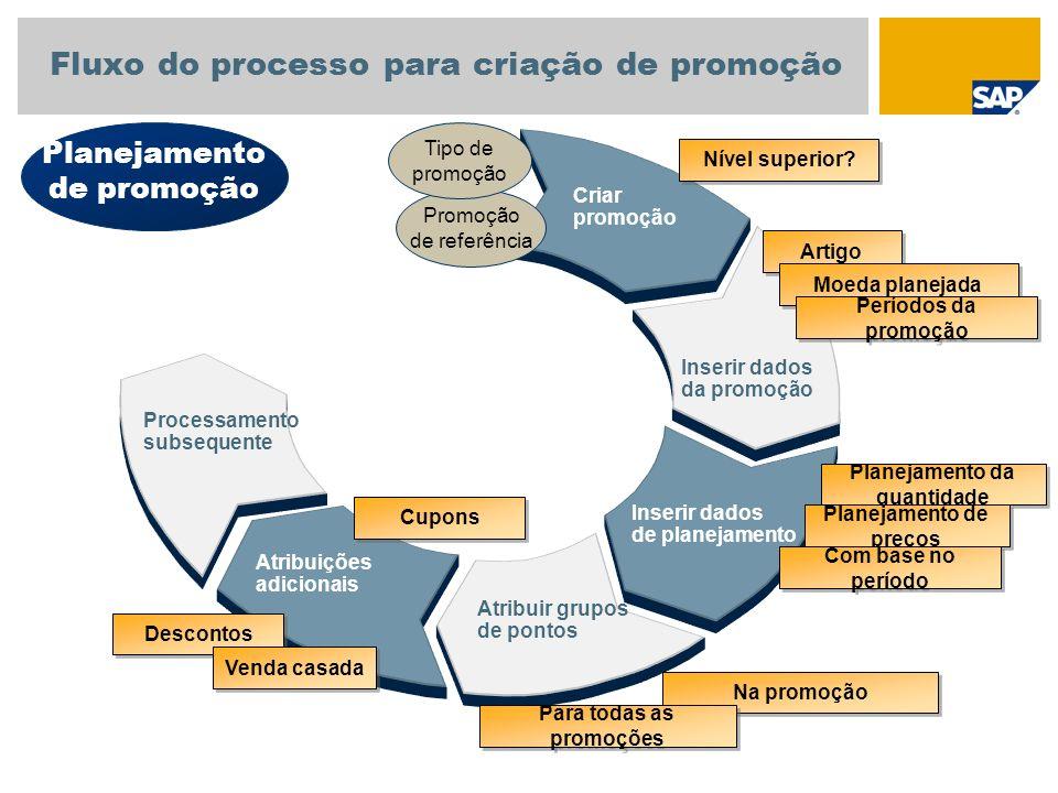 Processamento subsequente Criar promoção Atribuir grupos de pontos Atribuições adicionais Inserir dados da promoção Inserir dados de planejamento Plan
