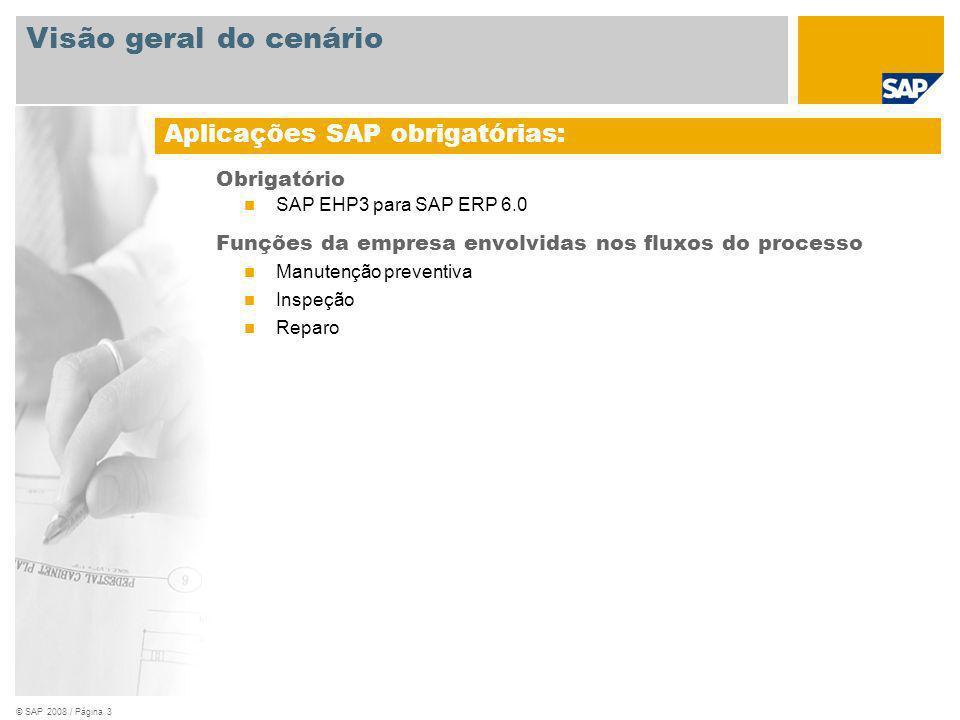 © SAP 2008 / Página 3 Obrigatório SAP EHP3 para SAP ERP 6.0 Funções da empresa envolvidas nos fluxos do processo Manutenção preventiva Inspeção Reparo