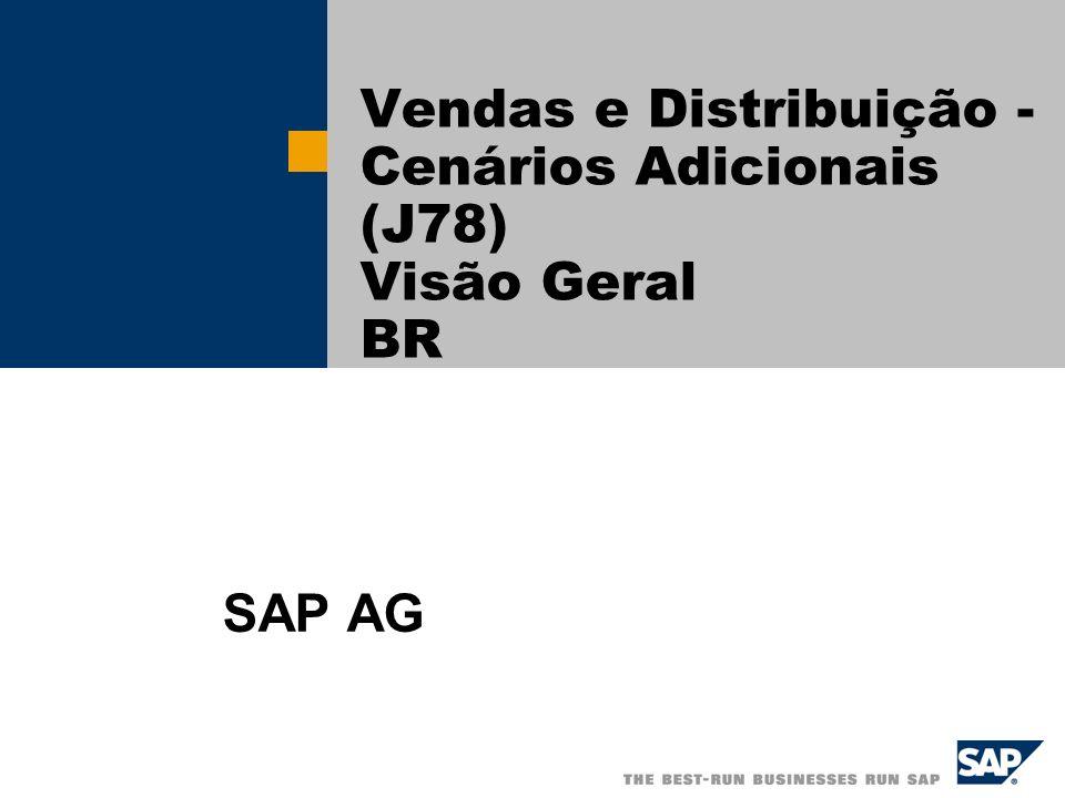 SAP AG 2004, Title of Presentation, Speaker Name / 2 Visão Geral Cenário 1 – Devolução de Mercadoria Este cenário provê todas as atividades necessárias para o processo de devolução de mercadoria.