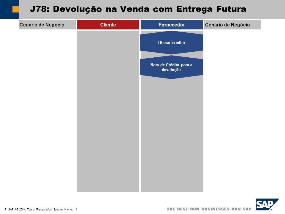 SAP AG 2004, Title of Presentation, Speaker Name / 11 Cenário de NegócioClienteFornecedorCenário de Negócio Liberar crédito Nota de Crédito para a dev