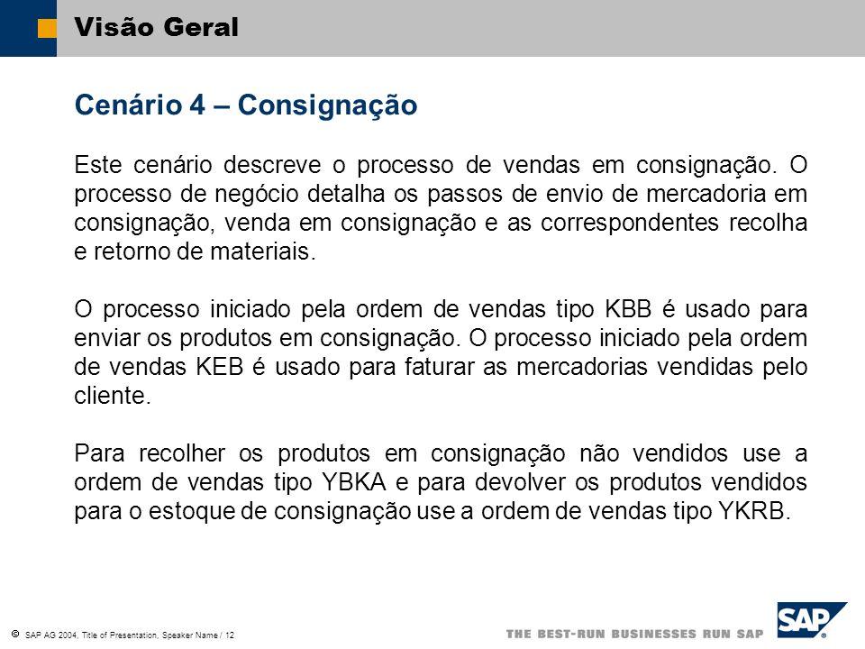 SAP AG 2004, Title of Presentation, Speaker Name / 12 Visão Geral Cenário 4 – Consignação Este cenário descreve o processo de vendas em consignação. O
