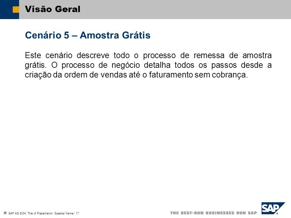 SAP AG 2004, Title of Presentation, Speaker Name / 17 Visão Geral Cenário 5 – Amostra Grátis Este cenário descreve todo o processo de remessa de amost