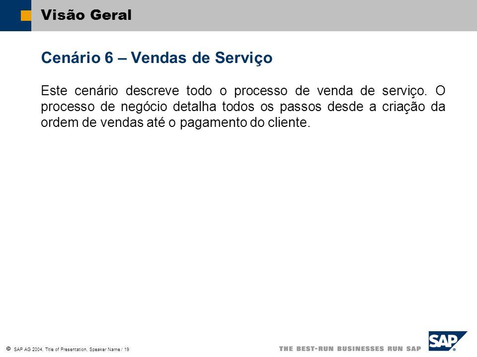 SAP AG 2004, Title of Presentation, Speaker Name / 19 Visão Geral Cenário 6 – Vendas de Serviço Este cenário descreve todo o processo de venda de serv
