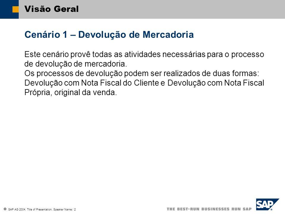 SAP AG 2004, Title of Presentation, Speaker Name / 2 Visão Geral Cenário 1 – Devolução de Mercadoria Este cenário provê todas as atividades necessária