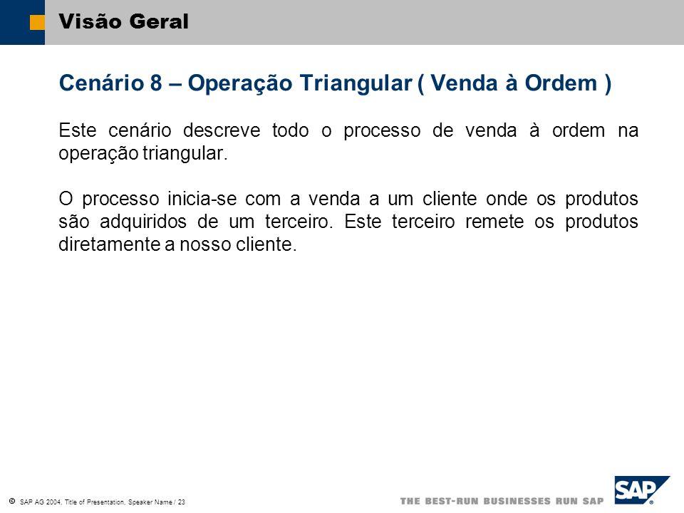 SAP AG 2004, Title of Presentation, Speaker Name / 23 Visão Geral Cenário 8 – Operação Triangular ( Venda à Ordem ) Este cenário descreve todo o proce