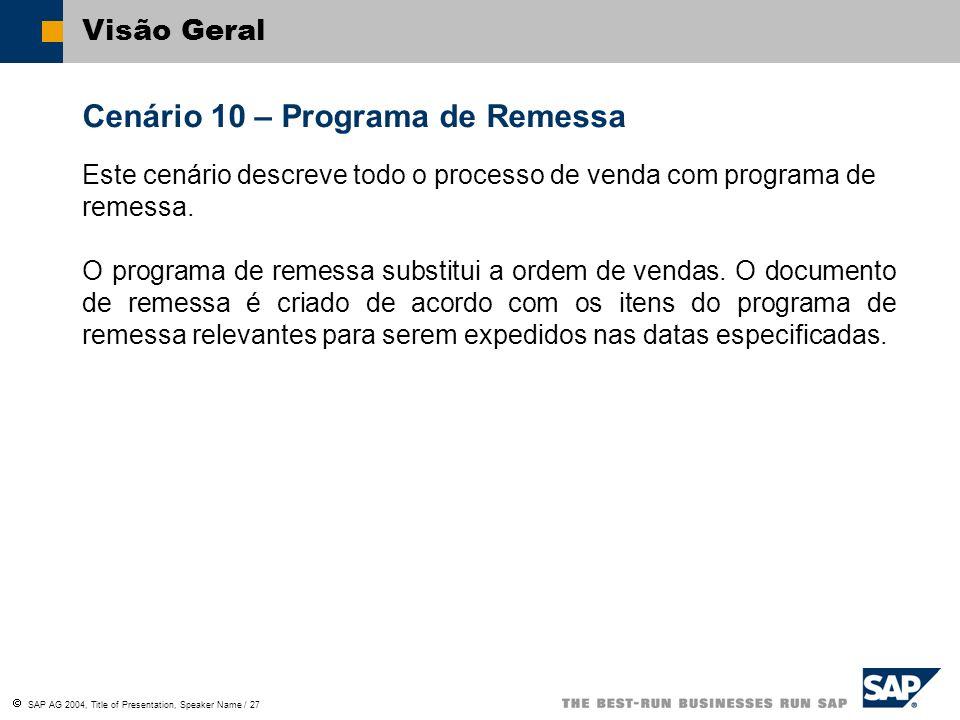 SAP AG 2004, Title of Presentation, Speaker Name / 27 Visão Geral Cenário 10 – Programa de Remessa Este cenário descreve todo o processo de venda com