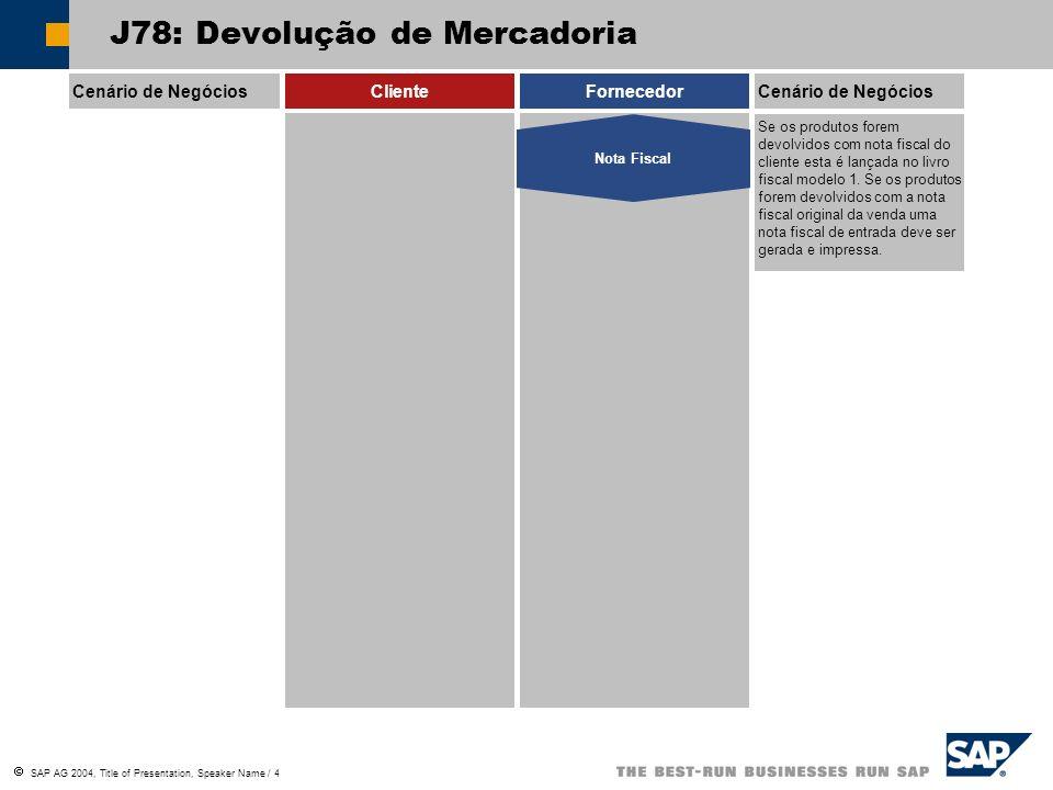 SAP AG 2004, Title of Presentation, Speaker Name / 15 J78: Recolha de Material Consignado Cenário de NegóciosClienteFornecedorCenário de Negócios Neste processo o cliente devolve os produtos consignados que não foram vendidos ou consumidos.