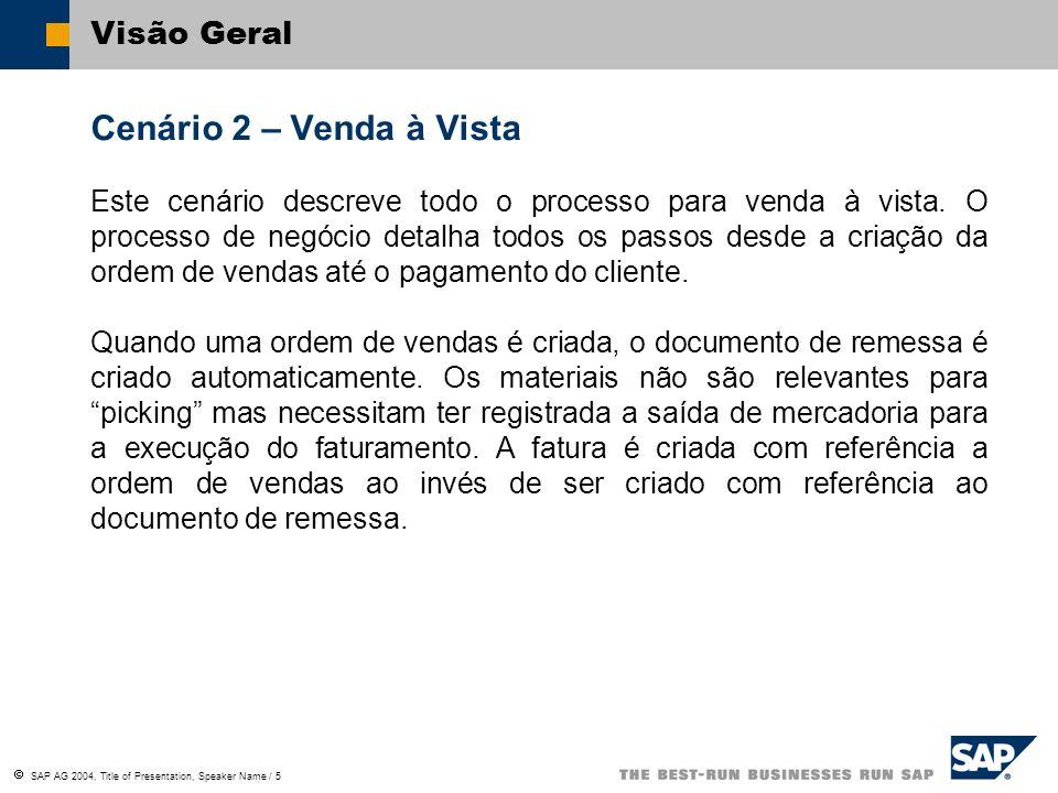 SAP AG 2004, Title of Presentation, Speaker Name / 5 Visão Geral Cenário 2 – Venda à Vista Este cenário descreve todo o processo para venda à vista. O