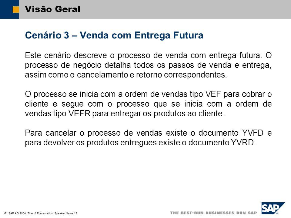 SAP AG 2004, Title of Presentation, Speaker Name / 7 Visão Geral Cenário 3 – Venda com Entrega Futura Este cenário descreve o processo de venda com en