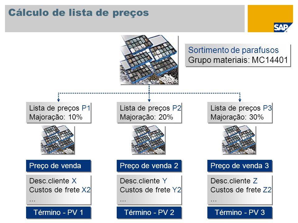 Cálculo de lista de preços Sortimento de parafusos Grupo materiais: MC14401 Sortimento de parafusos Grupo materiais: MC14401 Lista de preços P1 Majora