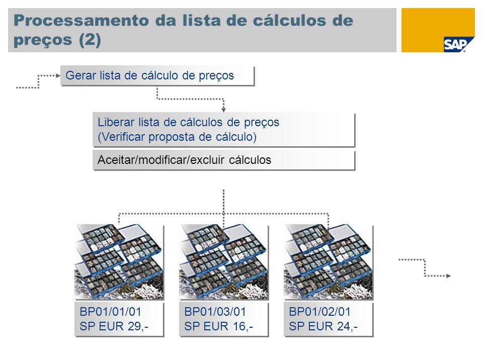 Processamento da lista de cálculos de preços (2) Liberar lista de cálculos de preços (Verificar proposta de cálculo) Liberar lista de cálculos de preç