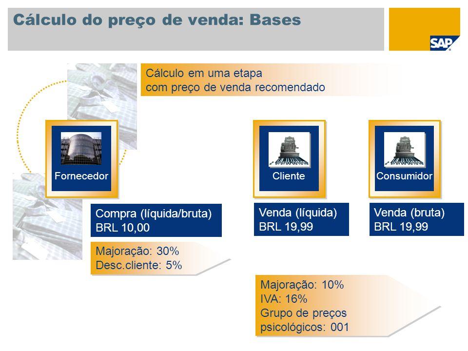 Cálculo do preço de venda: Bases Nível de retenção de dados Nível no qual condições genéricas (preço, majorações, desconto, impostos, etc.) podem ser gravados.
