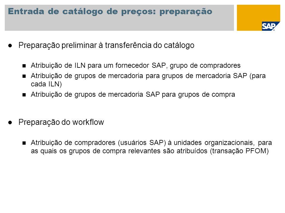 Entrada de catálogo de preços: preparação l Preparação preliminar à transferência do catálogo n Atribuição de ILN para um fornecedor SAP, grupo de com
