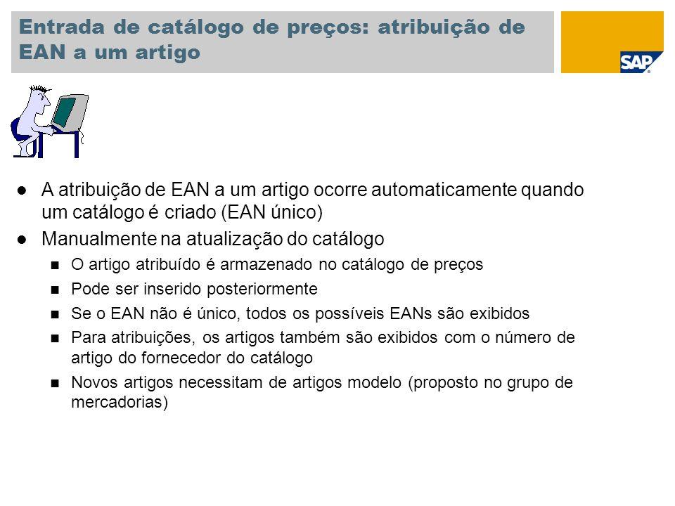 Entrada de catálogo de preços: atribuição de EAN a um artigo l A atribuição de EAN a um artigo ocorre automaticamente quando um catálogo é criado (EAN