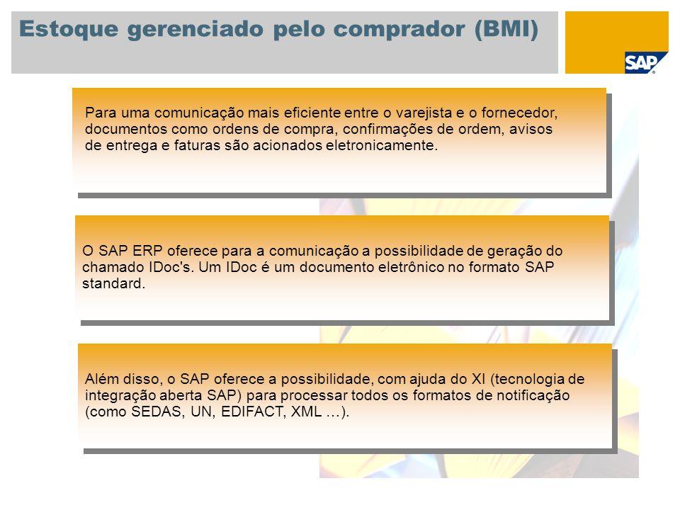 Estoque gerenciado pelo comprador (BMI) O SAP ERP oferece para a comunicação a possibilidade de geração do chamado IDoc's. Um IDoc é um documento elet