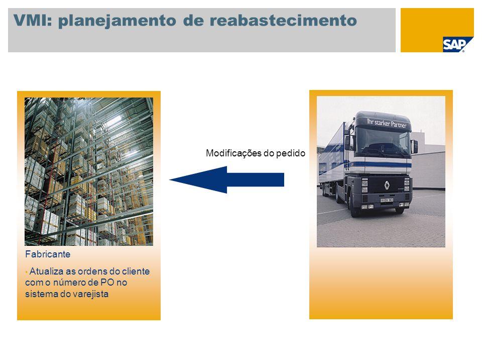 VMI: planejamento de reabastecimento Fabricante Atualiza as ordens do cliente com o número de PO no sistema do varejista Modificações do pedido