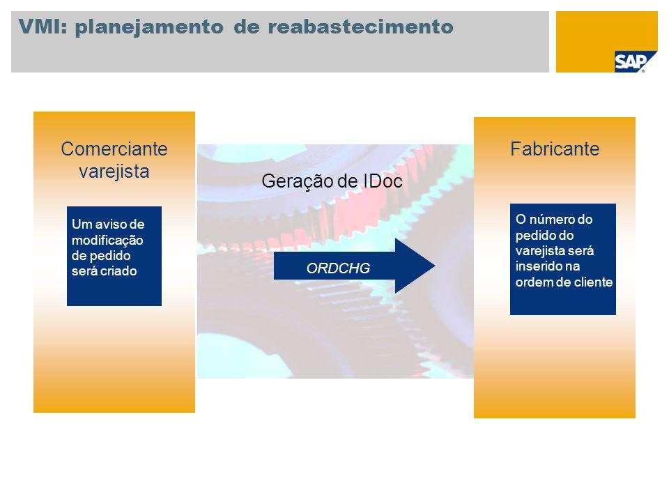 VMI: planejamento de reabastecimento Comerciante varejista Geração de IDoc O número do pedido do varejista será inserido na ordem de cliente Fabricant