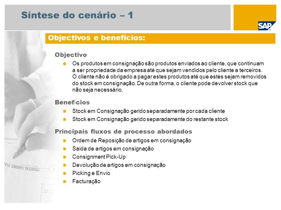 Síntese do cenário – 2 Necess á rio SAP enhancement package 3 for SAP ERP 6.0 Fun ç ões da empresa envolvidas nos fluxos do processo Administração de Vendas Encarregado do Depósito Contas a Receber Aplicações SAP necessárias: