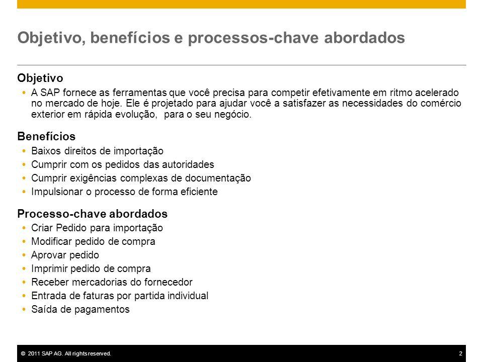 ©2011 SAP AG. All rights reserved.2 Objetivo, benefícios e processos-chave abordados Objetivo A SAP fornece as ferramentas que você precisa para compe