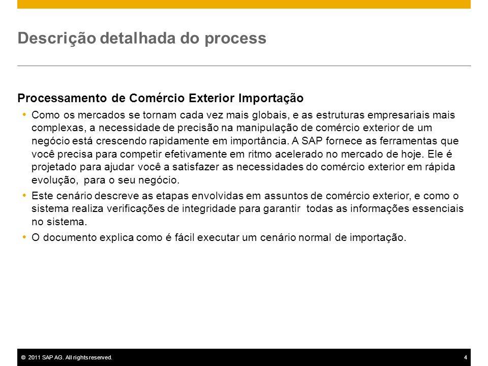 ©2011 SAP AG. All rights reserved.4 Descrição detalhada do process Processamento de Comércio Exterior Importação Como os mercados se tornam cada vez m