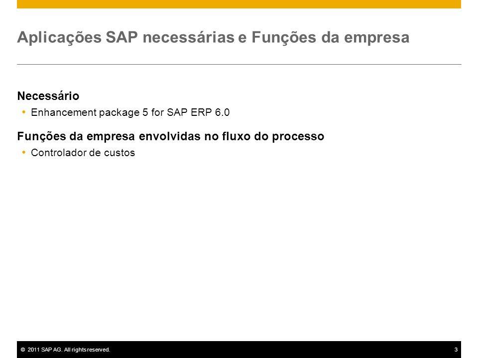 ©2011 SAP AG. All rights reserved.3 Aplicações SAP necessárias e Funções da empresa Necessário Enhancement package 5 for SAP ERP 6.0 Funções da empres