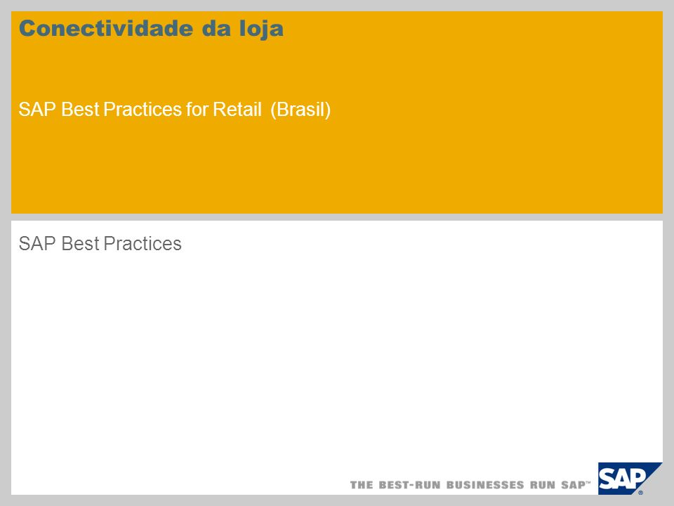 Conectividade da loja SAP Best Practices for Retail (Brasil) SAP Best Practices
