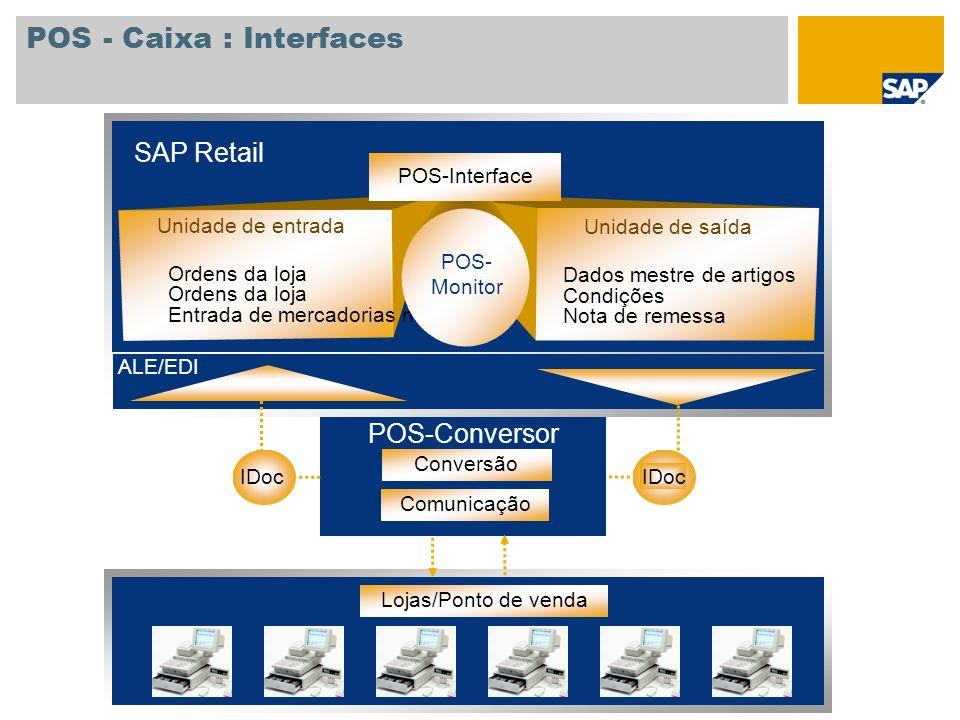 POS - Caixa : Interfaces SAP Retail ALE/EDI Lojas/Ponto de venda Conversão Comunicação POS-Conversor IDoc Dados mestre de artigos Condições Nota de re