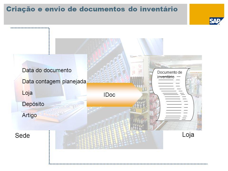 Criação e envio de documentos do inventário Data do documento Artigo Data contagem planejada Loja Depósito IDoc Documento de inventário Sede Loja
