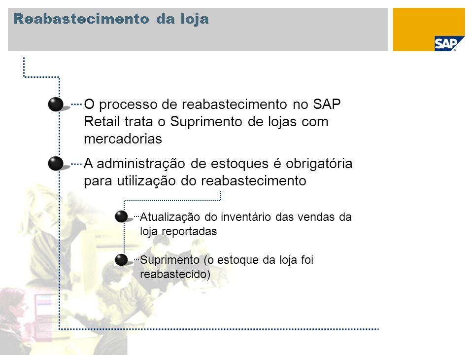 O processo de reabastecimento no SAP Retail trata o Suprimento de lojas com mercadorias A administração de estoques é obrigatória para utilização do r