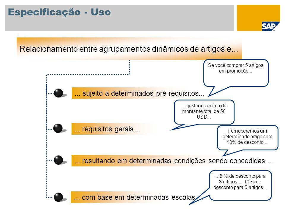Especificação - Uso Relacionamento entre agrupamentos dinâmicos de artigos e...... sujeito a determinados pré-requisitos...... com base em determinada