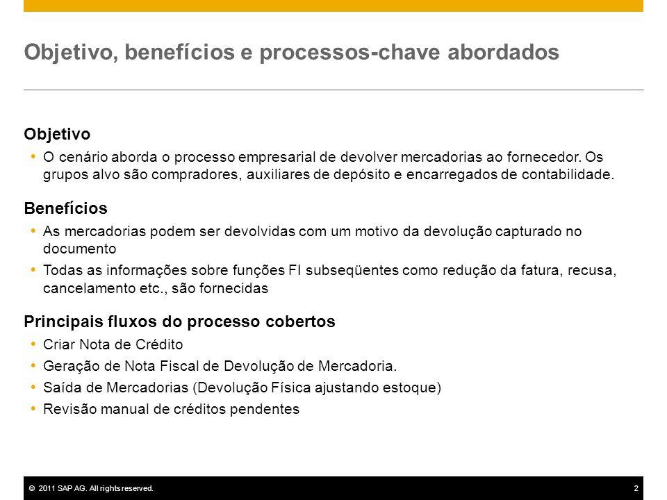 ©2011 SAP AG. All rights reserved.2 Objetivo, benefícios e processos-chave abordados Objetivo O cenário aborda o processo empresarial de devolver merc