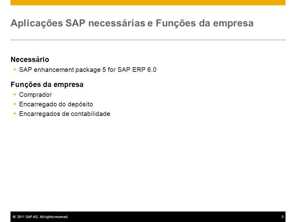 ©2011 SAP AG. All rights reserved.3 Aplicações SAP necessárias e Funções da empresa Necessário SAP enhancement package 5 for SAP ERP 6.0 Funções da em