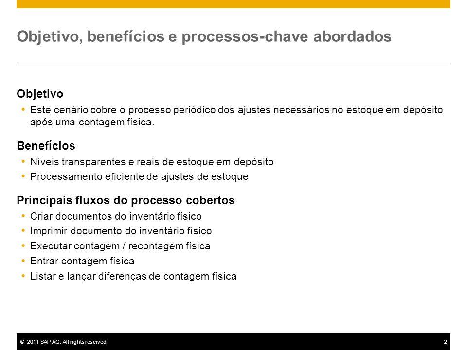 ©2011 SAP AG. All rights reserved.2 Objetivo, benefícios e processos-chave abordados Objetivo Este cenário cobre o processo periódico dos ajustes nece