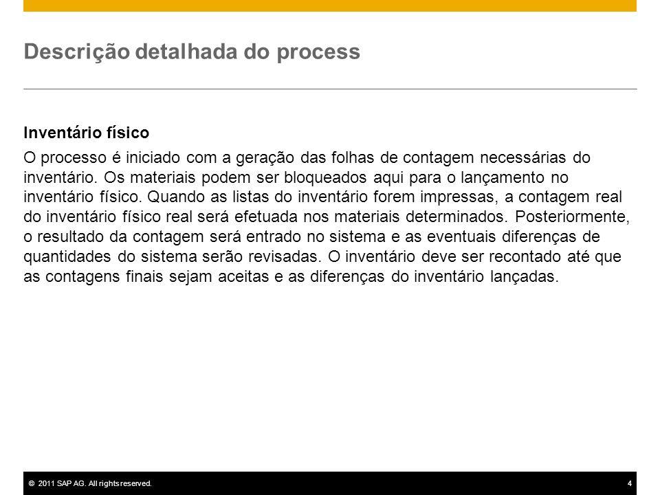 ©2011 SAP AG. All rights reserved.4 Descrição detalhada do process Inventário físico O processo é iniciado com a geração das folhas de contagem necess