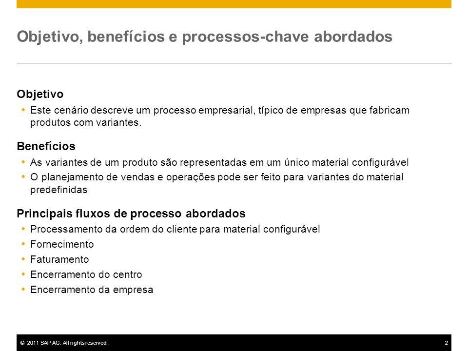 ©2011 SAP AG. All rights reserved.2 Objetivo, benefícios e processos-chave abordados Objetivo Este cenário descreve um processo empresarial, típico de