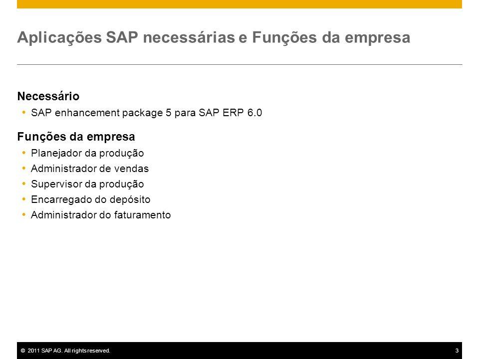 ©2011 SAP AG. All rights reserved.3 Aplicações SAP necessárias e Funções da empresa Necessário SAP enhancement package 5 para SAP ERP 6.0 Funções da e