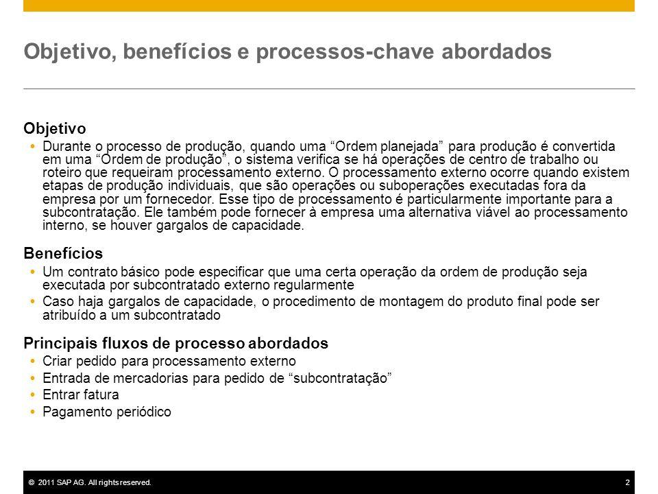 ©2011 SAP AG. All rights reserved.2 Objetivo, benefícios e processos-chave abordados Objetivo Durante o processo de produção, quando uma Ordem planeja