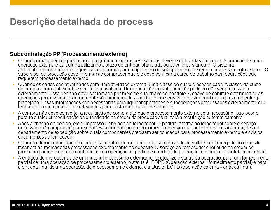 ©2011 SAP AG. All rights reserved.4 Descrição detalhada do process Subcontratação PP (Processamento externo) Quando uma ordem de produção é programada