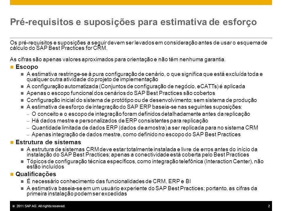 © 2011 SAP AG. All rights reserved.2 Pré-requisitos e suposições para estimativa de esforço Os pré-requisitos e suposições a seguir devem ser levados